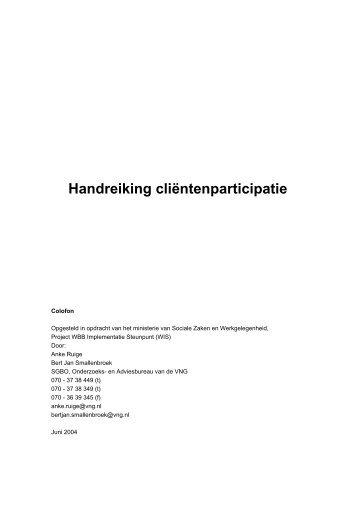 Handreiking cliëntenparticipatie - docs.szw.nl