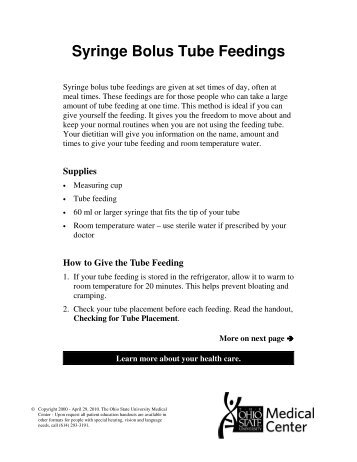 bolus tube feeding instructions