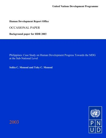 Case Study on Human Development Progress Towards the MDG at ...