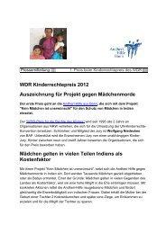 WDR Kinderrechtepreis 2012 Auszeichnung für Projekt gegen ...