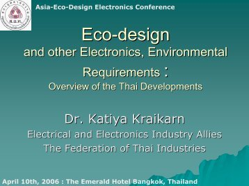 Eco-design: and other Electronics, Environmental Requirements ...