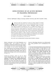 effectiveness of an active method in teaching physiology