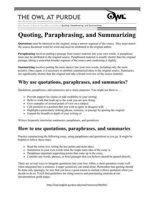 Quoting Paraphrasing And Summarizing Prose Passage