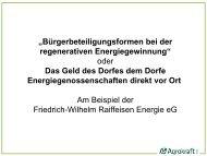 Bürgerbeteiligungsformen bei der regenerativen Energiegewinnung