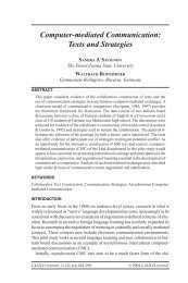 Computer-mediated Communication: Texts and Strategies - CALICO