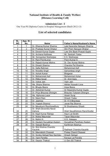List of selected candidates - National Institute of health and family ...