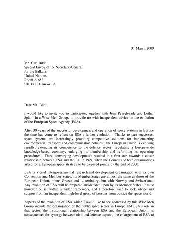 Antonio Rodotà's letter to Mr. Carl Bildt (31 March) - Esa