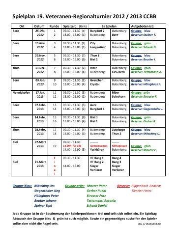 Spielplan für Bubenberger