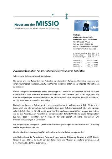 Informationen für Zuweiser - Missio