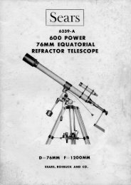 Sears 6339-A 76mm Equatorial Refractor Manual