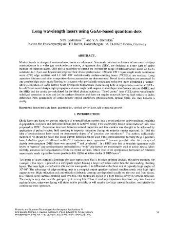 Long wavelength lasers using GaAs-based quantum dots