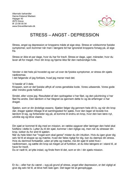 angst fysiske symptomer