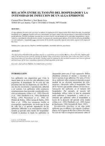 Relación entre el tamaño del hospedador y la intensidad ... - Limnetica