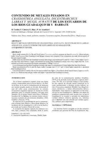 Contenido de metales pesados en Crassostrea angulata ... - Limnetica