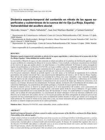 El nitrato en aguas superficiales y subterraneas de la ... - Limnetica