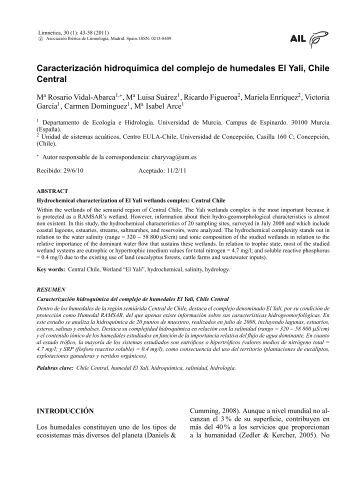 Caracterizacion hidroquimica del complejo de ... - Limnetica