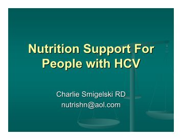 Nutrition Support in HCV Infection - Utah Department of Health