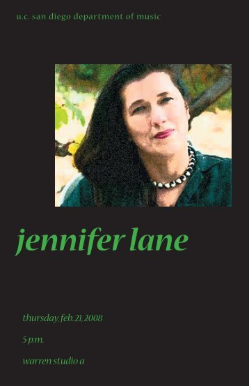 jennifer lane - UCSD Department of Music Intranet - UC San Diego