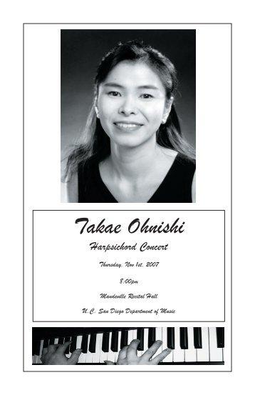 Takae Ohnishi - UCSD Department of Music Intranet - UC San Diego