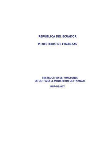 REPÚBLICA DEL ECUADOR MINISTERIO DE FINANZAS - eSIGEF