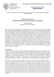 English National Identity and European Integration - OxPO