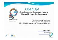 OpenUp! - Opening up the Natural History Heritage for Europeana