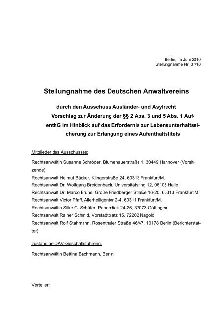 Stellungnahme des Deutschen Anwaltvereins - Deutscher ...