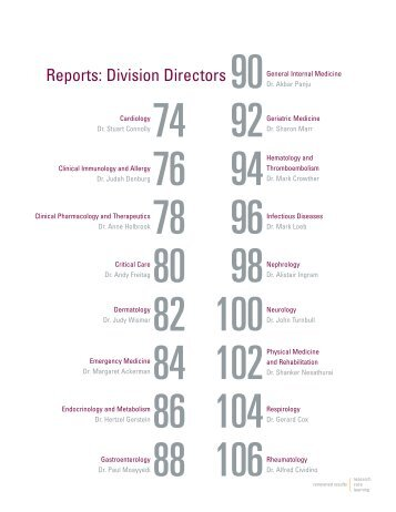 Division Reports - Faculty of Health Sciences - McMaster University