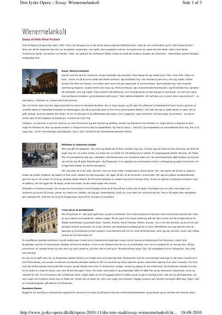 Side 1 af 3 Den Jyske Opera :: Essay: Wienermelankoli 18-08-2010 ...
