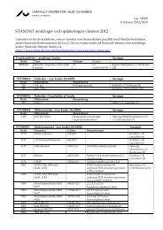 STANDAT ændringer ved opdateringen vinteren 2012