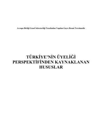 Türkiye'nin üyeliği perspektifinden kaynaklanacak hususlar