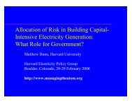 Allocation of Risk in Building Capital- Intensive Electricity Generation
