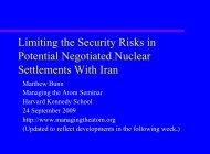Options for Limiting the Security Risks from a Negotiated Nuclear ...