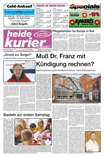 Muß Dr. Franz mit Kündigung rechnen?