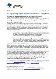 Ben & Jerry's og Ashoka innleder samarbeid med Norgeturné - Cision