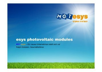 esys photovoltaic modules
