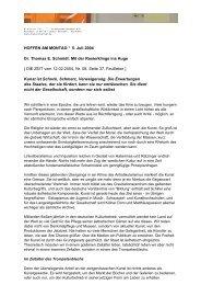 HOFFEN AM MONTAG ° 5. Juli 2004 Dr. Thomas E. Schmidt: Mit der ...