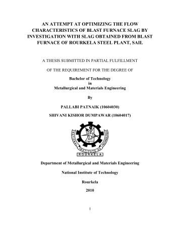 an attempt at optimizing the flow characteristics of blast furnace slag ...