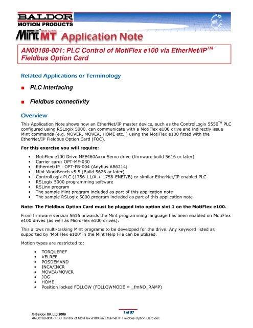 AN00188-001: PLC Control of MotiFlex e100 via EtherNet/IP