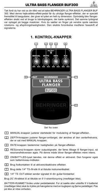 ultra bass flanger buf300 1. kontrol-knapper - zZounds.com