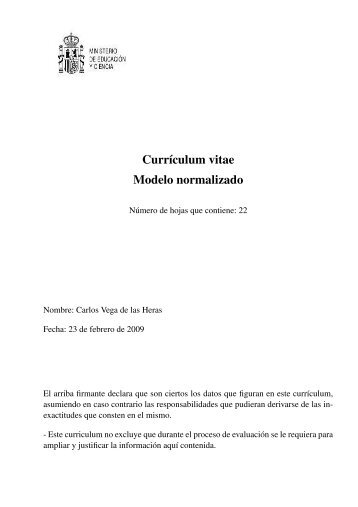 Curriculum Vitae Modelo Normalizado Grupo De Termodinamica