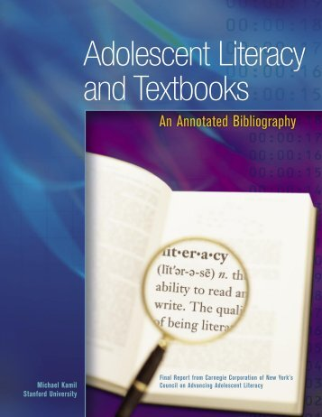 Adolescent Literacy and Textbooks - Carnegie Corporation of New ...