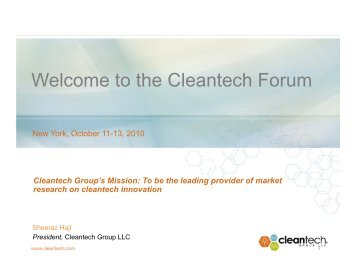 A Sneak Peek at the Future of Cleantech - Upcoming Forums and ...