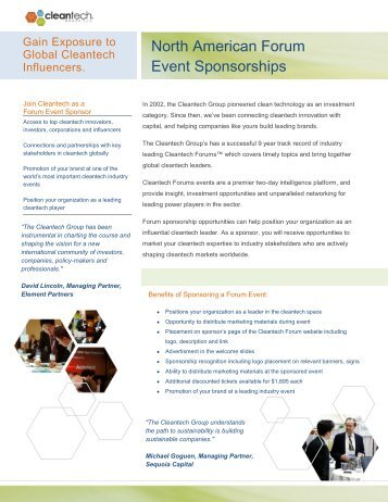 North American Forum Event Sponsorships - Upcoming Forums and ...