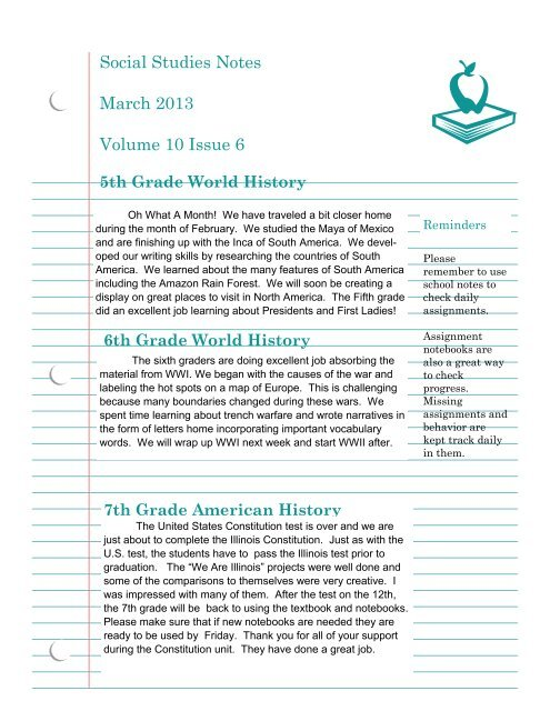 Social Studies Notes March 2013 Volume 10 Issue 6 - Incarnation