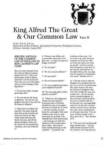 the law code of king alfred the great Alfred the great's england one of the ways he did this was by creating a written law code based on biblical to learn more about king alfred the great.
