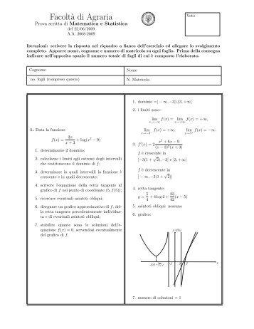 Facolt`a di Agraria - Dipartimento di Matematica e Informatica