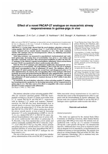 Effect of a novel PACAP-27 analogue on muscarinic airway ...