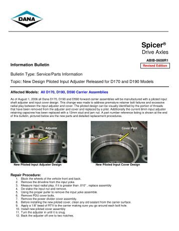 New Design Piloted Input Adjuster Released for D170 and ... - Spicer