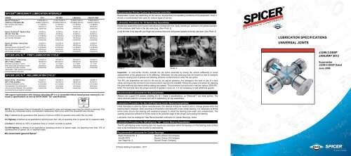 Spicer Lubrication Specifications Universal Joints